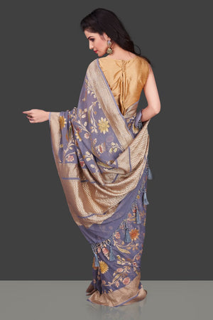 Shop grey georgette Benarasi saree online in USA with floral zari jaal. Shop beautiful Banarasi georgette sarees, tussar sarees, pure muga silk sarees in USA from Pure Elegance Indian fashion boutique in USA. Get spoiled for choices with a splendid variety of Indian sarees to choose from! Shop now.-back