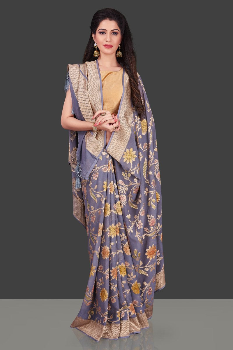 Shop grey georgette Benarasi saree online in USA with floral zari jaal. Shop beautiful Banarasi georgette sarees, tussar sarees, pure muga silk sarees in USA from Pure Elegance Indian fashion boutique in USA. Get spoiled for choices with a splendid variety of Indian sarees to choose from! Shop now.-front