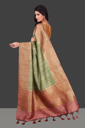 Shop pista green tassar Banarasi saree in USA with pink zari border. Shop beautiful Banarasi georgette sarees, tussar saris, pure muga silk saris in USA from Pure Elegance Indian fashion boutique in USA. Get spoiled for choices with a splendid variety of Indian sarees to choose from! Shop now.-back