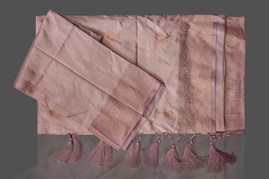 Buy online champagne Banarasi silk saree in USA with zari border and zari buta. Shop beautiful Banarasi georgette sarees, tussar saris, pure muga silk saris in USA from Pure Elegance Indian fashion boutique in USA. Get spoiled for choices with a splendid variety of Indian sarees to choose from! Shop now.-details