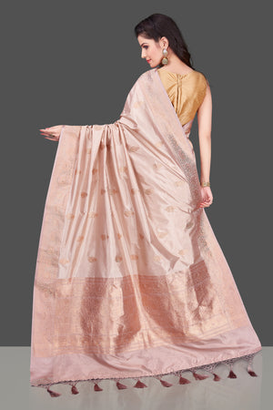 Buy online champagne Banarasi silk saree in USA with zari border and zari buta. Shop beautiful Banarasi georgette sarees, tussar saris, pure muga silk saris in USA from Pure Elegance Indian fashion boutique in USA. Get spoiled for choices with a splendid variety of Indian sarees to choose from! Shop now.-back