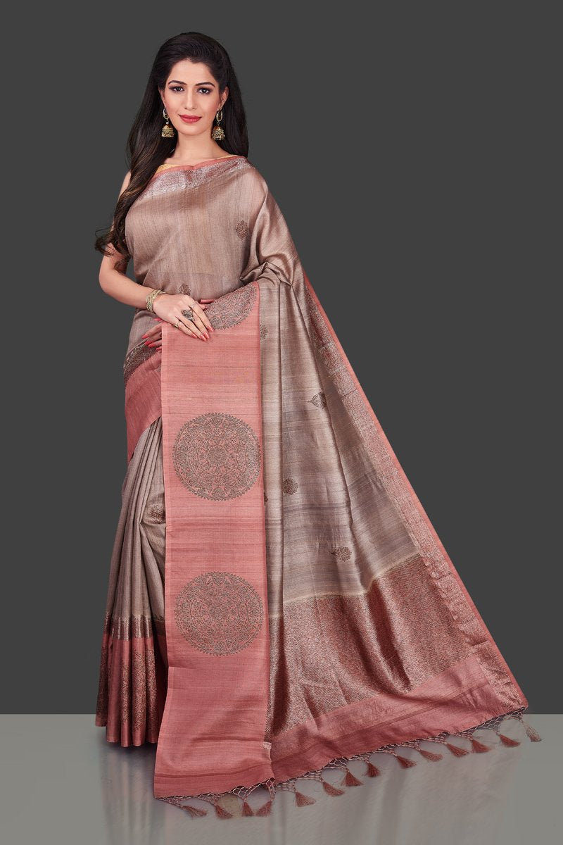 Shop attractive brown tassar Benarasi sari online in USA with zari buta on border. Shop beautiful Banarasi georgette sarees, tussar saris, pure muga silk saris in USA from Pure Elegance Indian fashion boutique in USA. Get spoiled for choices with a splendid variety of Indian sarees to choose from! Shop now.-full view