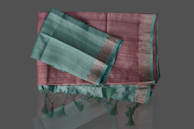 Buy beautiful mauve color tassar Benarasi saree online in USA with zari buta on green border. Shop beautiful Banarasi georgette sarees, tussar saris, pure muga silk saris in USA from Pure Elegance Indian fashion boutique in USA. Get spoiled for choices with a splendid variety of Indian sarees to choose from! Shop now.-details