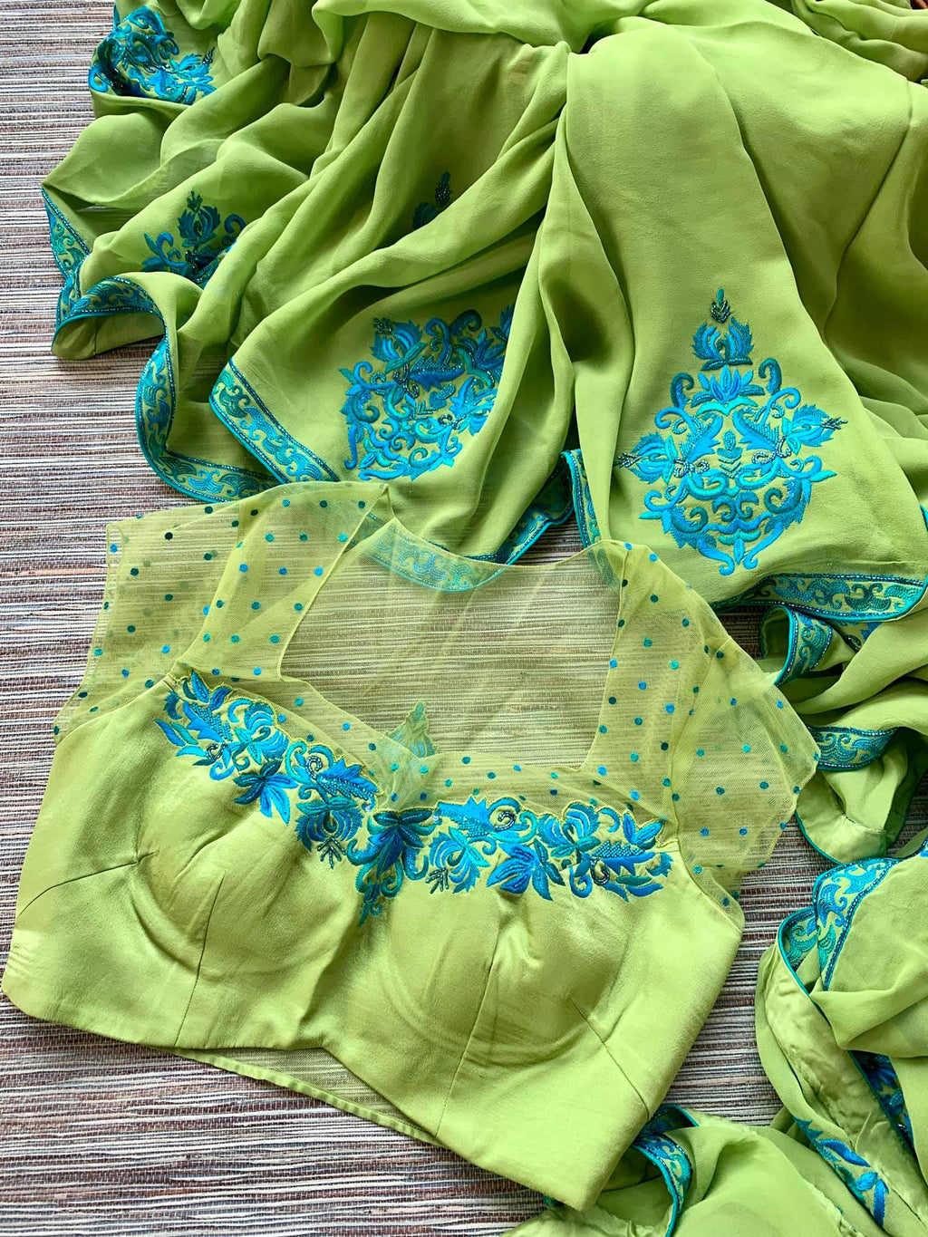 90J603 Green Embroidered Saree with Matching Blouse