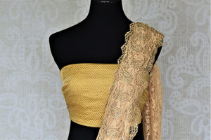 Buy elegant cream lace saree online in USA with stone work. Look beautiful on special occasions in lace sarees, embroidered sarees, designer saris from Pure Elegance Indian fashion boutique in USA. We bring a especially curated collection of ethnic sarees for Indian women in USA under one roof!-blouse