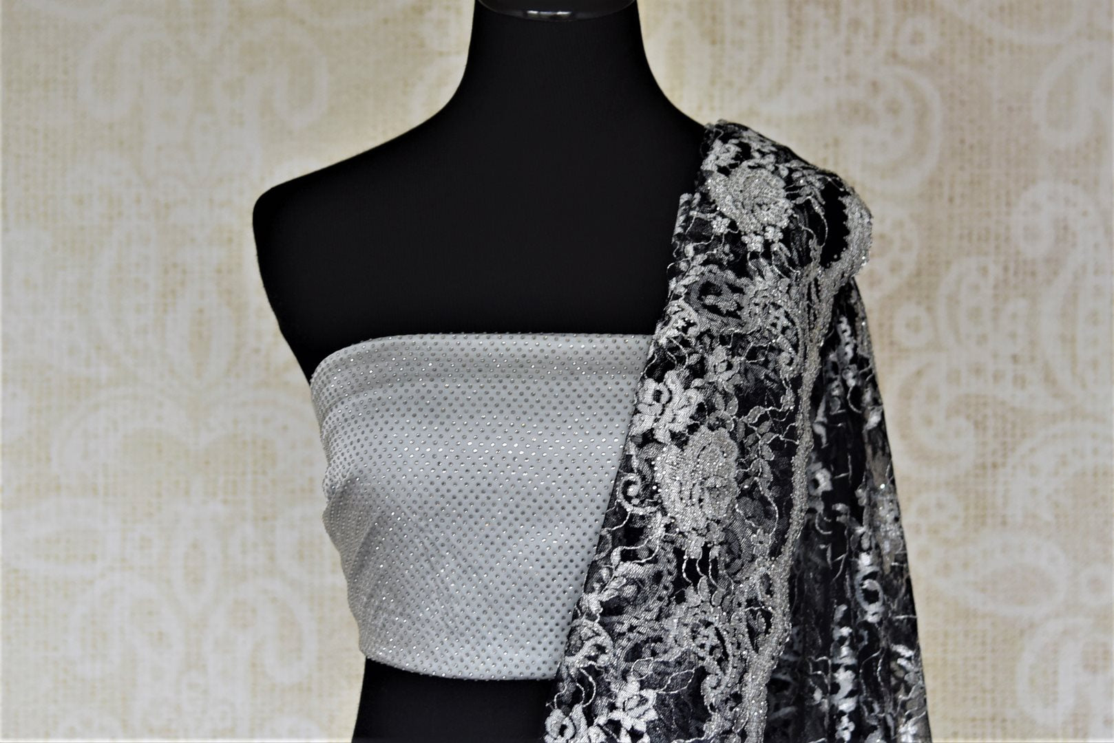 Shop beautiful black and grey designer lace saree online in USA with stone work. Look beautiful on special occasions in lace sarees, embroidered sarees, designer saris from Pure Elegance Indian fashion boutique in USA. We bring a especially curated collection of ethnic sarees for Indian women in USA under one roof!-blouse pallu