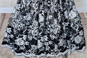 Shop beautiful black and grey designer lace saree online in USA with stone work. Look beautiful on special occasions in lace sarees, embroidered sarees, designer saris from Pure Elegance Indian fashion boutique in USA. We bring a especially curated collection of ethnic sarees for Indian women in USA under one roof!-pleats