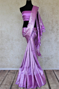 Shop stunning lavender silver zari work Kanjivaram sari online in USA. Look elegant at parties and special occasions in handwoven silk sarees, designer sarees with blouse, embroidered saris from Pure Elegance Indian luxury clothing store in USA.-full view