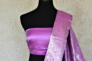 Shop stunning lavender silver zari work Kanjivaram sari online in USA. Look elegant at parties and special occasions in handwoven silk sarees, designer sarees with blouse, embroidered saris from Pure Elegance Indian luxury clothing store in USA.-blouse pallu