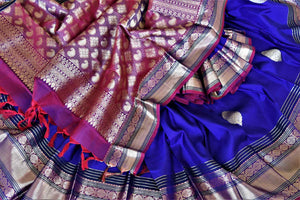 Shop beautiful dark blue Kanjivaram saree online in USA with golden zari border. For Indian women in USA, Pure Elegance Indian fashion store brings an exquisite collection Kanjeevaram sarees, Kanchipuram silk saris, tussar sarees, zari work sarees, pure silk sarees all under one roof. Shop online now.-details