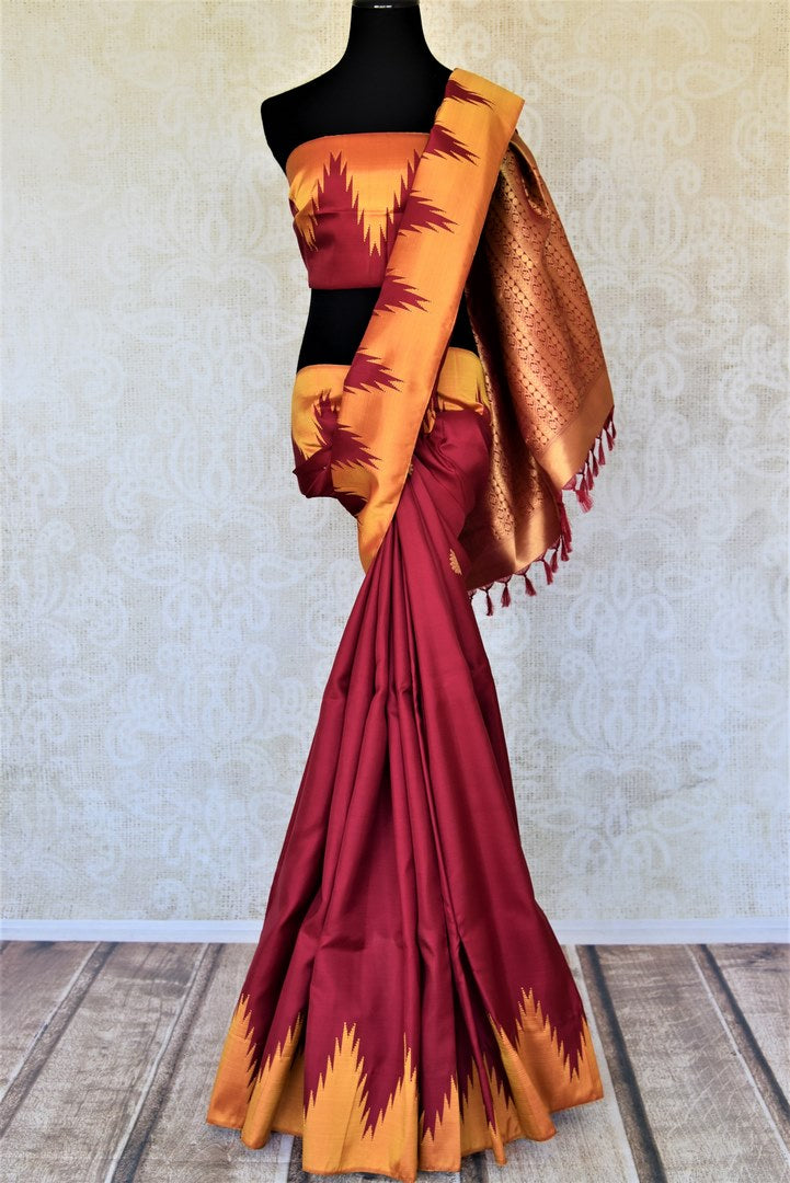 Buy beautiful red Kanjivaram silk saree online in USA with temple border. Choose from a splendid variety of soft silk sarees, Kanjivaram silk sarees for weddings and festive occasions from Pure Elegance Indian clothing store in USA.-full view