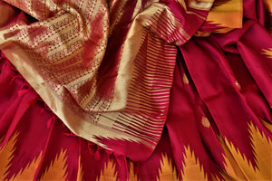 Buy beautiful red Kanjivaram silk saree online in USA with temple border. Choose from a splendid variety of soft silk sarees, Kanjivaram silk sarees for weddings and festive occasions from Pure Elegance Indian clothing store in USA.-details