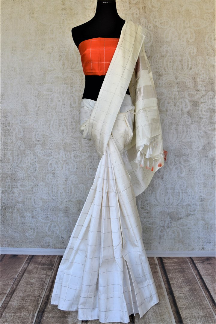 Shop elegant off-white zari checks Kanjivaram saree online in USA. For Indian women in USA, Pure Elegance Indian fashion store brings an exquisite collection Kanjeevaram sarees, Kanchipuram silk saris, tussar sarees, zari work sarees, pure silk sarees all under one roof. Shop online now.-full view