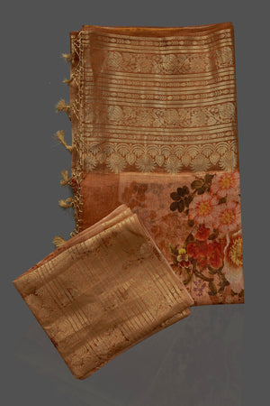 Shop beautiful ombre peach floral Banarasi linen saree online in USA with golden zari border. Look charming on festivals and weddings with stunning Banarasi sarees from Pure Elegance Indian clothing store. Your one stop destination for Indian fashion in USA!-blouse