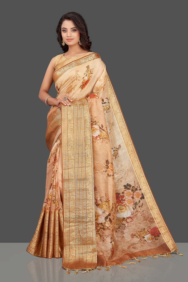 Shop beautiful ombre peach floral Banarasi linen saree online in USA with golden zari border. Look charming on festivals and weddings with stunning Banarasi sarees from Pure Elegance Indian clothing store. Your one stop destination for Indian fashion in USA!-full view
