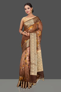 Buy beautiful ombre brown floral organza Banarasi sari online in USA with golden zari border. Look charming on festivals and weddings with stunning Banarasi sarees from Pure Elegance Indian clothing store. Your one stop destination for Indian fashion in USA!-full view