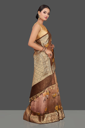 Buy beautiful ombre brown floral organza Banarasi sari online in USA with golden zari border. Look charming on festivals and weddings with stunning Banarasi sarees from Pure Elegance Indian clothing store. Your one stop destination for Indian fashion in USA!-left