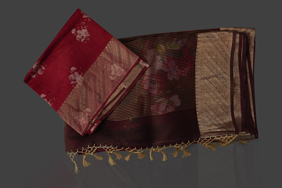 Shop rich wine color floral organza Banarasi saree online in USA with golden zari border. Look charming on festivals and weddings with stunning Banarasi sarees from Pure Elegance Indian clothing store. Your one stop destination for Indian fashion in USA!-blouse