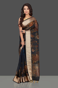 Buy navy blue floral organza Banarasi sari online in USA with zari border. Look charming on festivals and weddings with stunning Banarasi sarees from Pure Elegance Indian clothing store. Your one stop destination for Indian fashion in USA!-full view