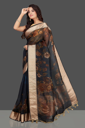 Buy navy blue floral organza Banarasi sari online in USA with zari border. Look charming on festivals and weddings with stunning Banarasi sarees from Pure Elegance Indian clothing store. Your one stop destination for Indian fashion in USA!-side