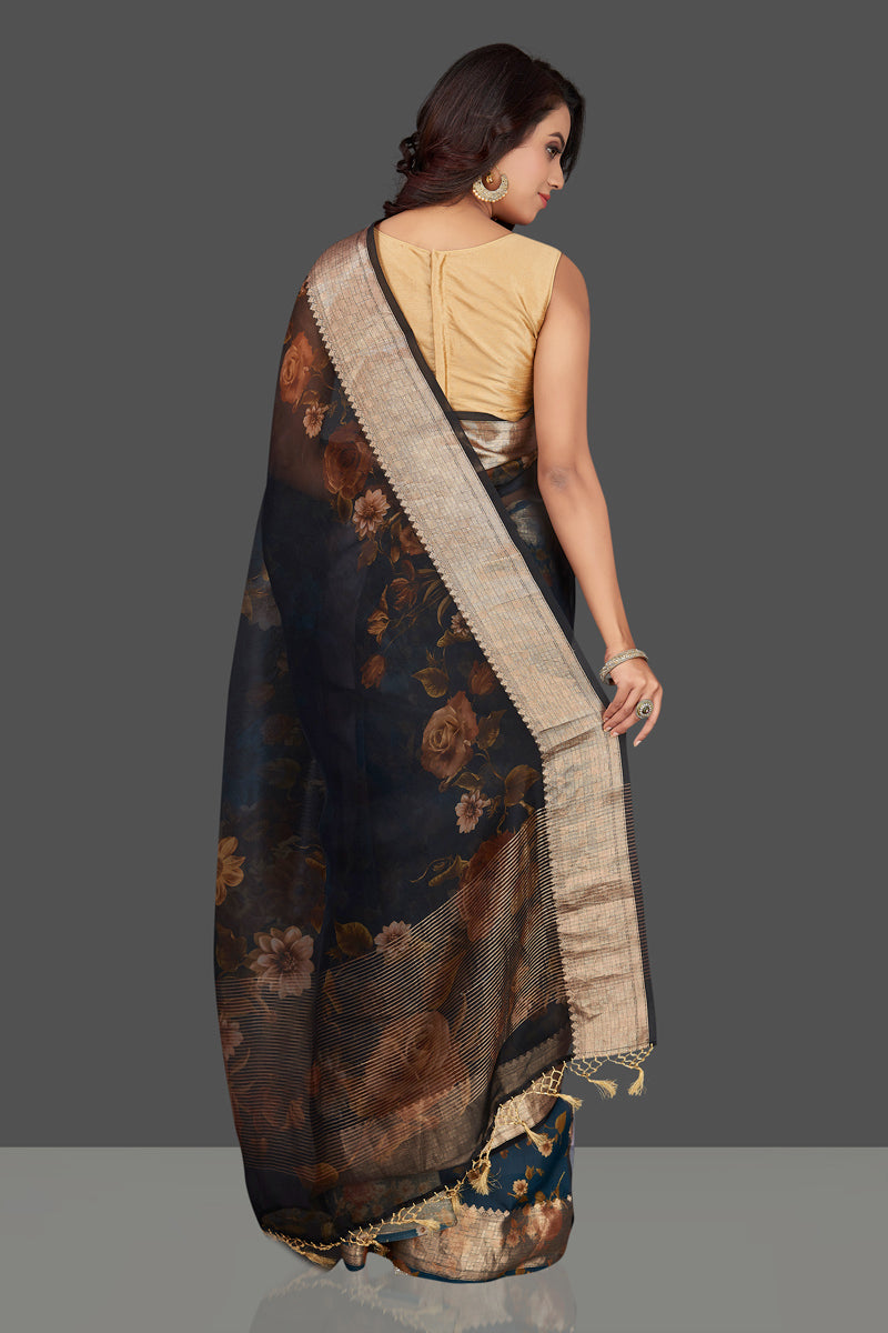 Buy navy blue floral organza Banarasi sari online in USA with zari border. Look charming on festivals and weddings with stunning Banarasi sarees from Pure Elegance Indian clothing store. Your one stop destination for Indian fashion in USA!-back