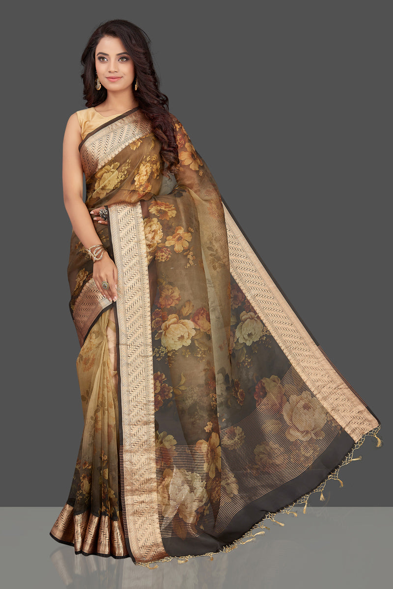 Shop lovely ombre brown organza Banarasi sari online in USA with floral print. Look charming on festivals and weddings with stunning Banarasi sarees from Pure Elegance Indian clothing store. Your one stop destination for Indian fashion in USA!-full view
