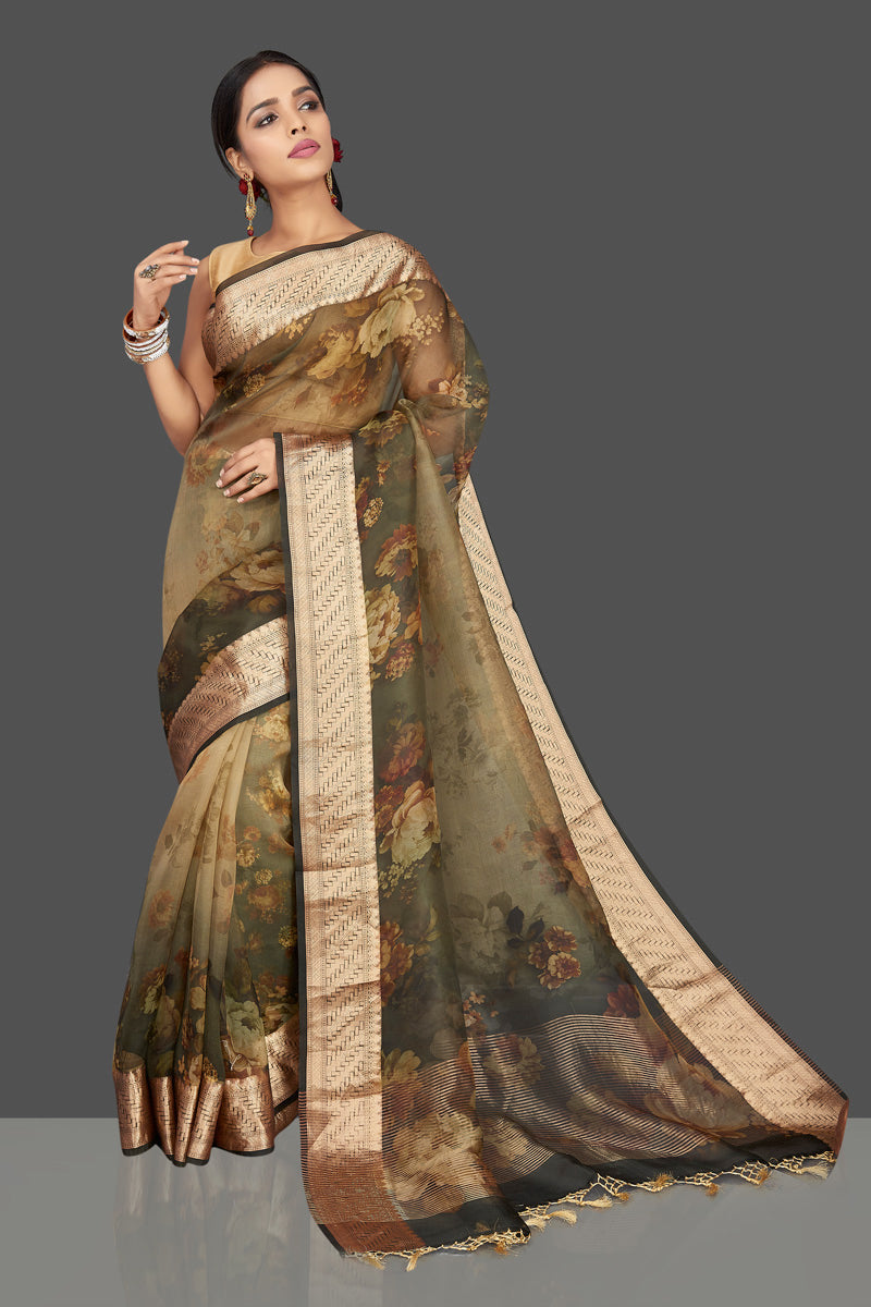 Shop charming greenish brown floral organza saree online in USA with zari border. Be the center of attraction at weddings and parties with your captivating ethnic style in beautiful pure silk sarees. handwoven sarees from Pure Elegance Indian fashion store in USA.-full view