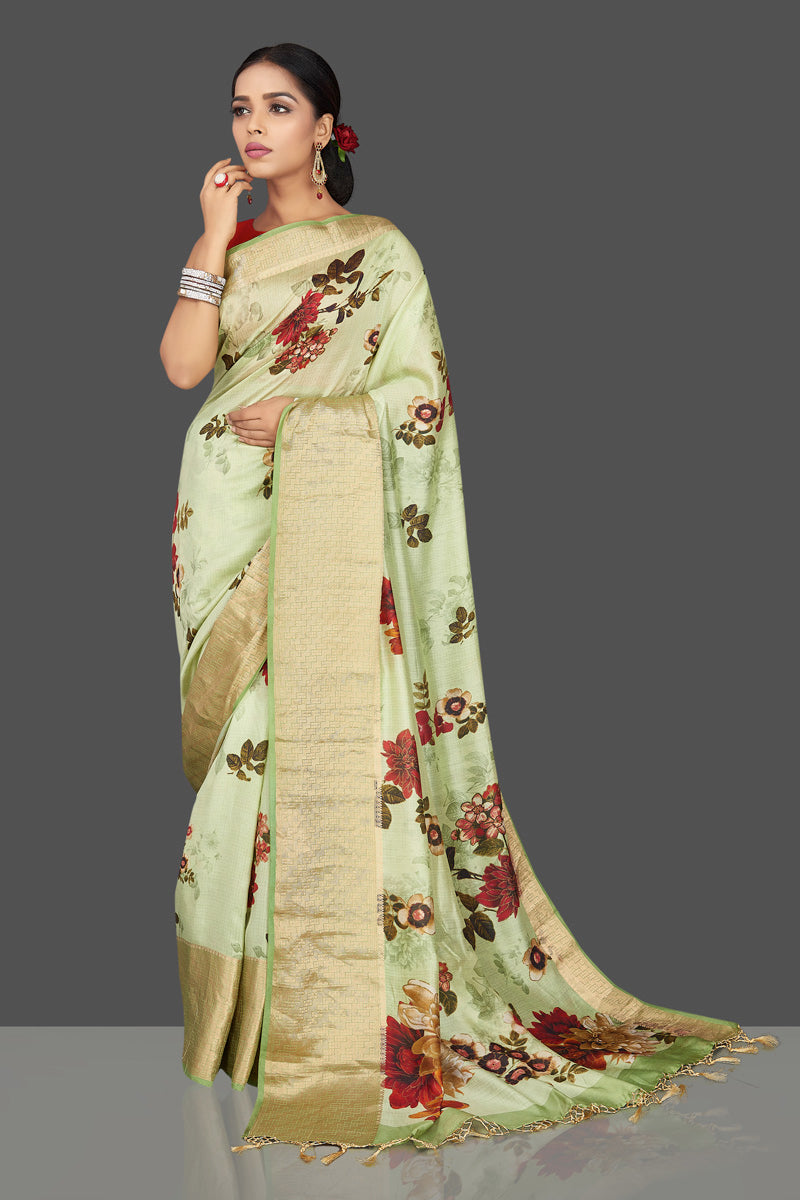 Buy charming mint green muga saree online in USA with zari border. Be the center of attraction at weddings and parties with your captivating ethnic style in beautiful pure silk sarees. handwoven sarees from Pure Elegance Indian fashion store in USA.-full view
