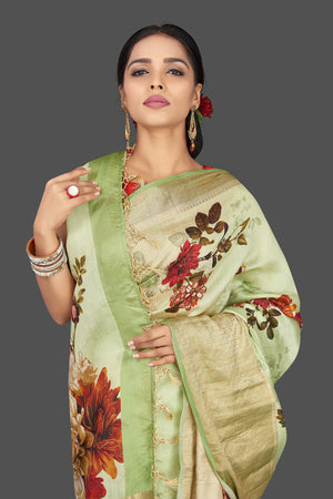 Buy charming mint green muga saree online in USA with zari border. Be the center of attraction at weddings and parties with your captivating ethnic style in beautiful pure silk sarees. handwoven sarees from Pure Elegance Indian fashion store in USA.-details