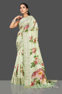 Buy beautiful mint green floral print muga saree online in USA with zari border. Be the center of attraction at weddings and parties with your captivating ethnic style in beautiful pure silk sarees. handwoven saris from Pure Elegance Indian fashion store in USA.-full view