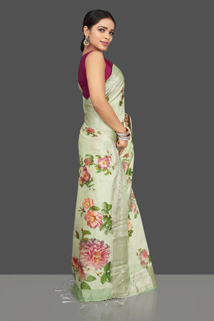 Buy beautiful mint green floral print muga saree online in USA with zari border. Be the center of attraction at weddings and parties with your captivating ethnic style in beautiful pure silk sarees. handwoven saris from Pure Elegance Indian fashion store in USA.-right side
