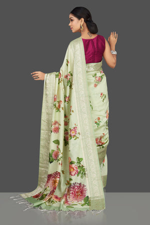 Buy beautiful mint green floral print muga saree online in USA with zari border. Be the center of attraction at weddings and parties with your captivating ethnic style in beautiful pure silk sarees. handwoven saris from Pure Elegance Indian fashion store in USA.-back