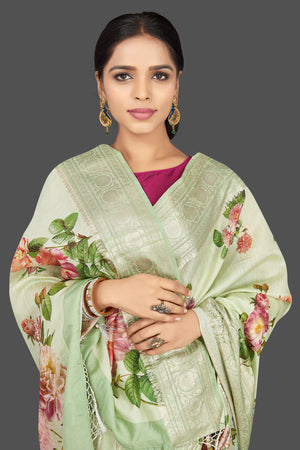 Buy beautiful mint green floral print muga saree online in USA with zari border. Be the center of attraction at weddings and parties with your captivating ethnic style in beautiful pure silk sarees. handwoven saris from Pure Elegance Indian fashion store in USA.-closeup