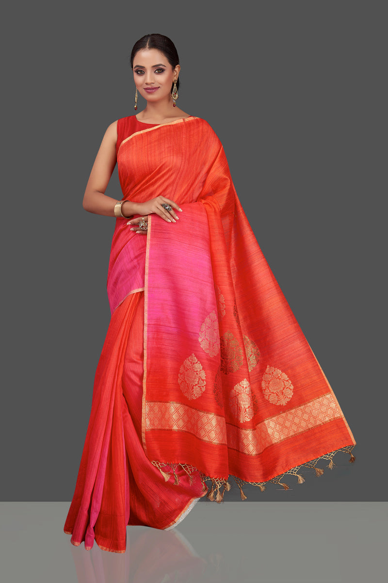 Buy gorgeous pink and orange tassar muga Banarasi sari online in USA with zari motifs pallu. Look charming on festivals and weddings with stunning Banarasi sarees, muga silk sarees, tussar sarees from Pure Elegance Indian clothing store. Your one stop destination for Indian fashion in USA!-full view