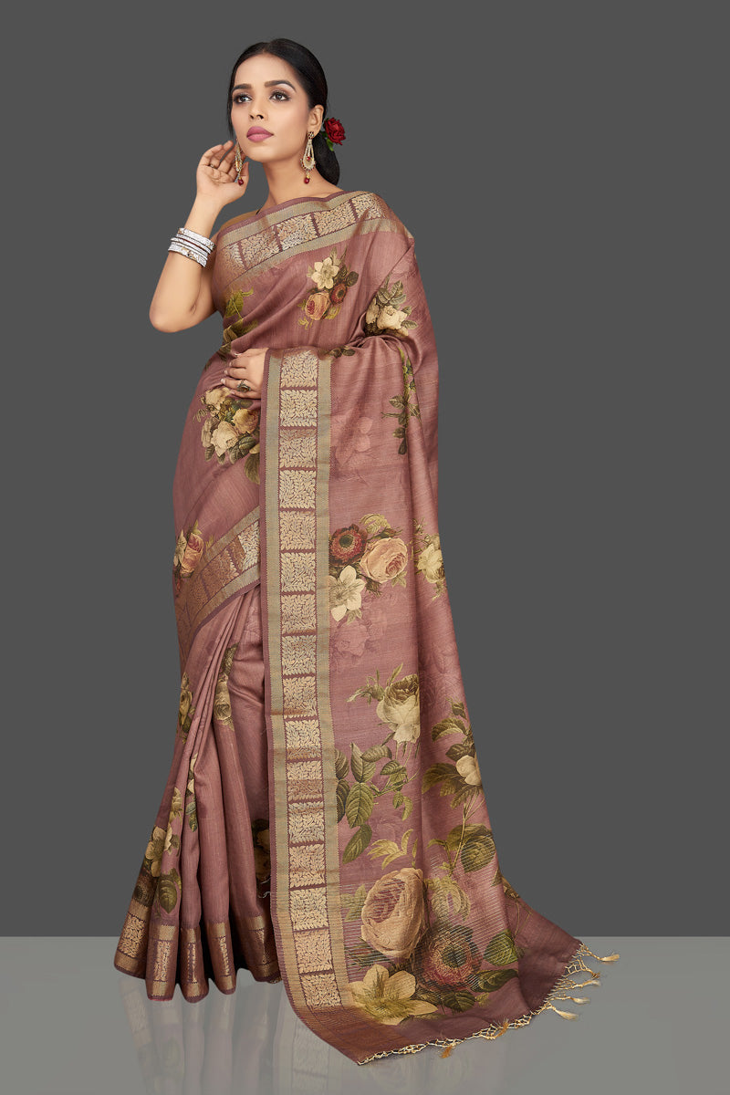Shop brown floral print muga silk saree online in USA. Be the center of attraction at weddings and parties with your captivating ethnic style in beautiful muga silk sarees. zari work saris from Pure Elegance Indian fashion store in USA.-full view