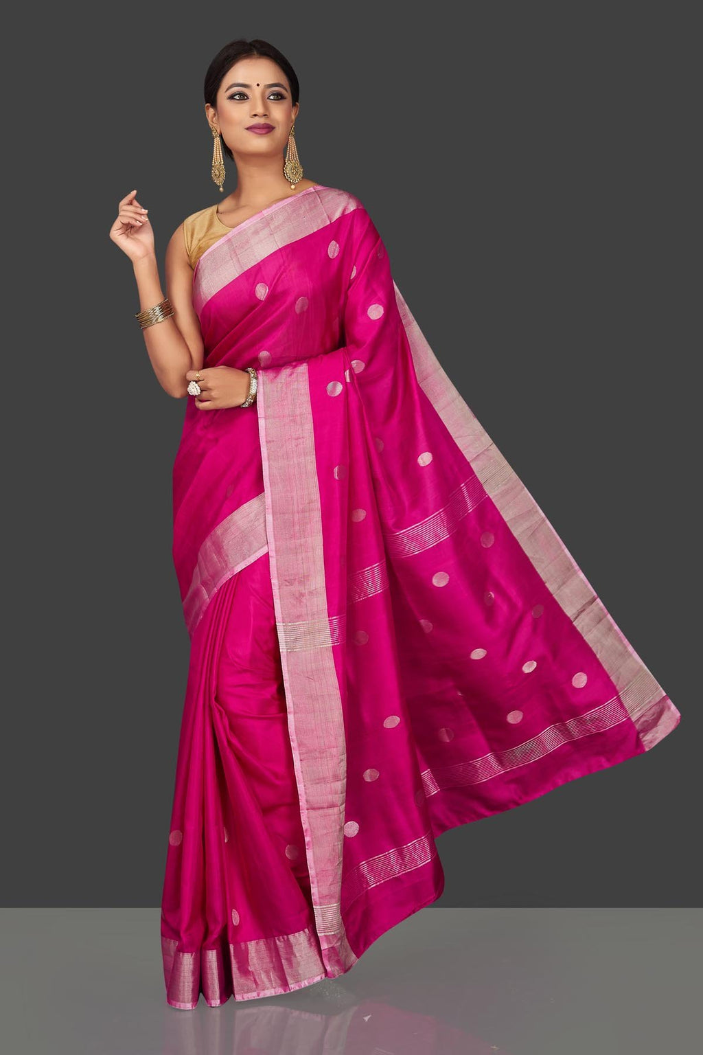 Buy bright pink Uppada silk saree online in USA with silver zari buta and border. Keep it elegant with handwoven silk sarees, Uppada silk sarees, soft silk sarees from Pure Elegance Indian fashion boutique in USA. We bring a especially curated collection of ethnic sarees for Indian women in USA under one roof!-full view