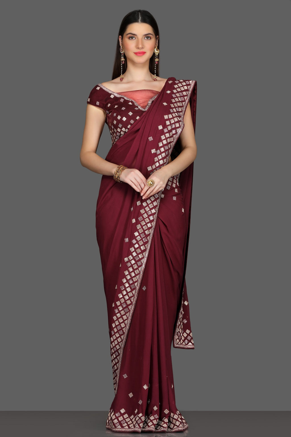 Buy gorgeous maroon embroidered designer saree online in USA with matching saree blouse. Shine at parties with glamorous designer sarees, Bollywood sarees from Pure Elegance Indian fashion store in USA.-full view