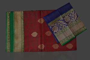 Shop rich maroon tassar Banarasi sari online in USA with antique zari blue pallu. Garner compliments on weddings and special occasions with exquisite Banarasi sarees, handwoven silk sarees, tussar sarees from Pure Elegance Indian fashion store in USA.-blouse