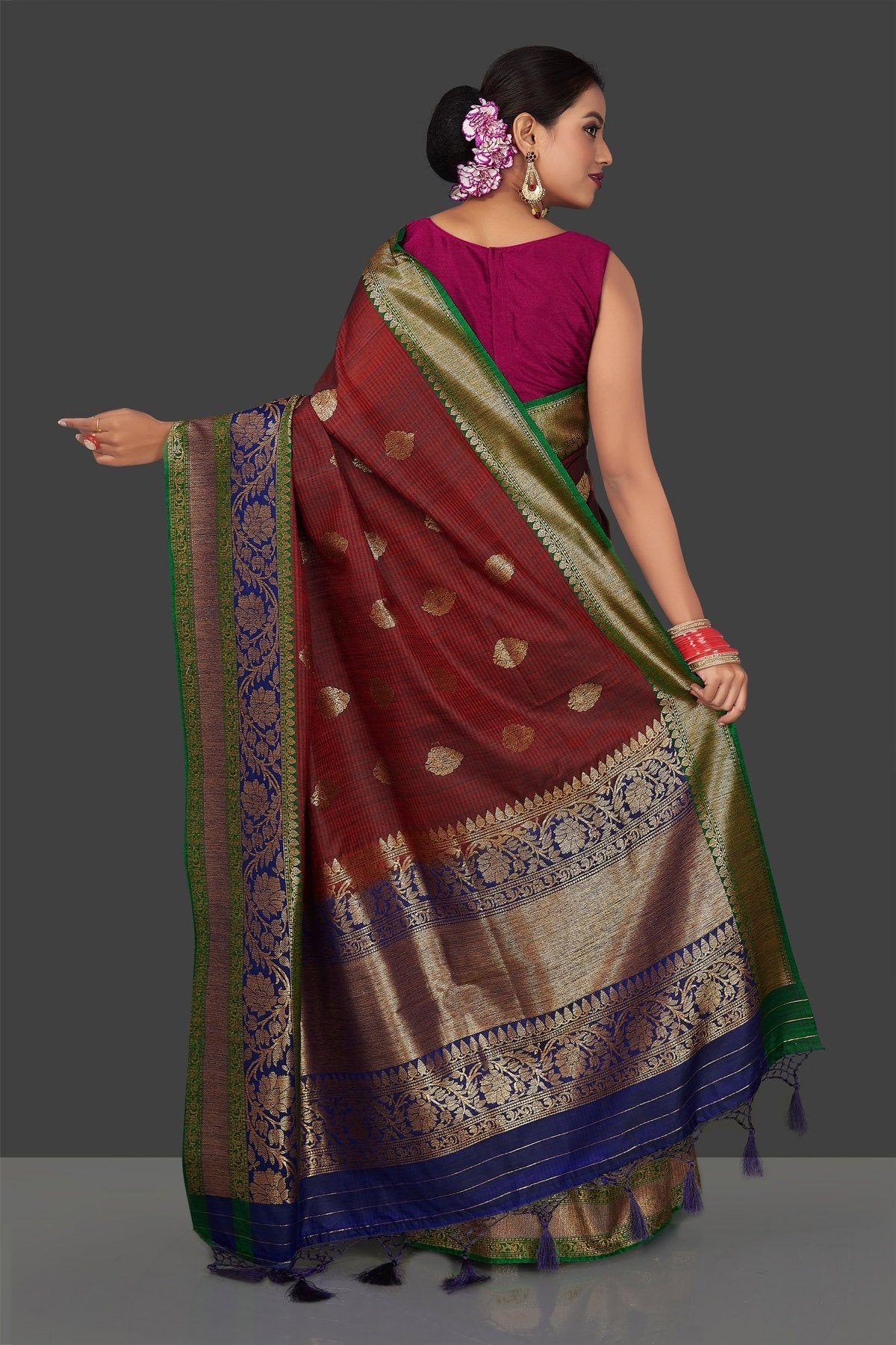 Shop rich maroon tassar Banarasi sari online in USA with antique zari blue pallu. Garner compliments on weddings and special occasions with exquisite Banarasi sarees, handwoven silk sarees, tussar sarees from Pure Elegance Indian fashion store in USA.-back