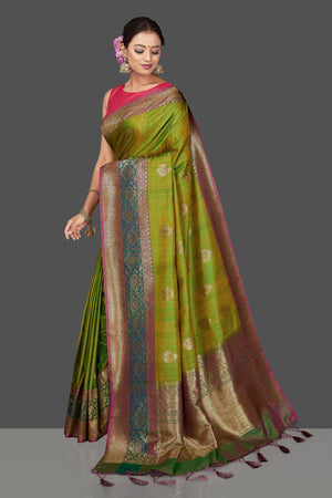 90J814 Yellowish Green Tassar Banarasi Saree with Antique Zari Pallu