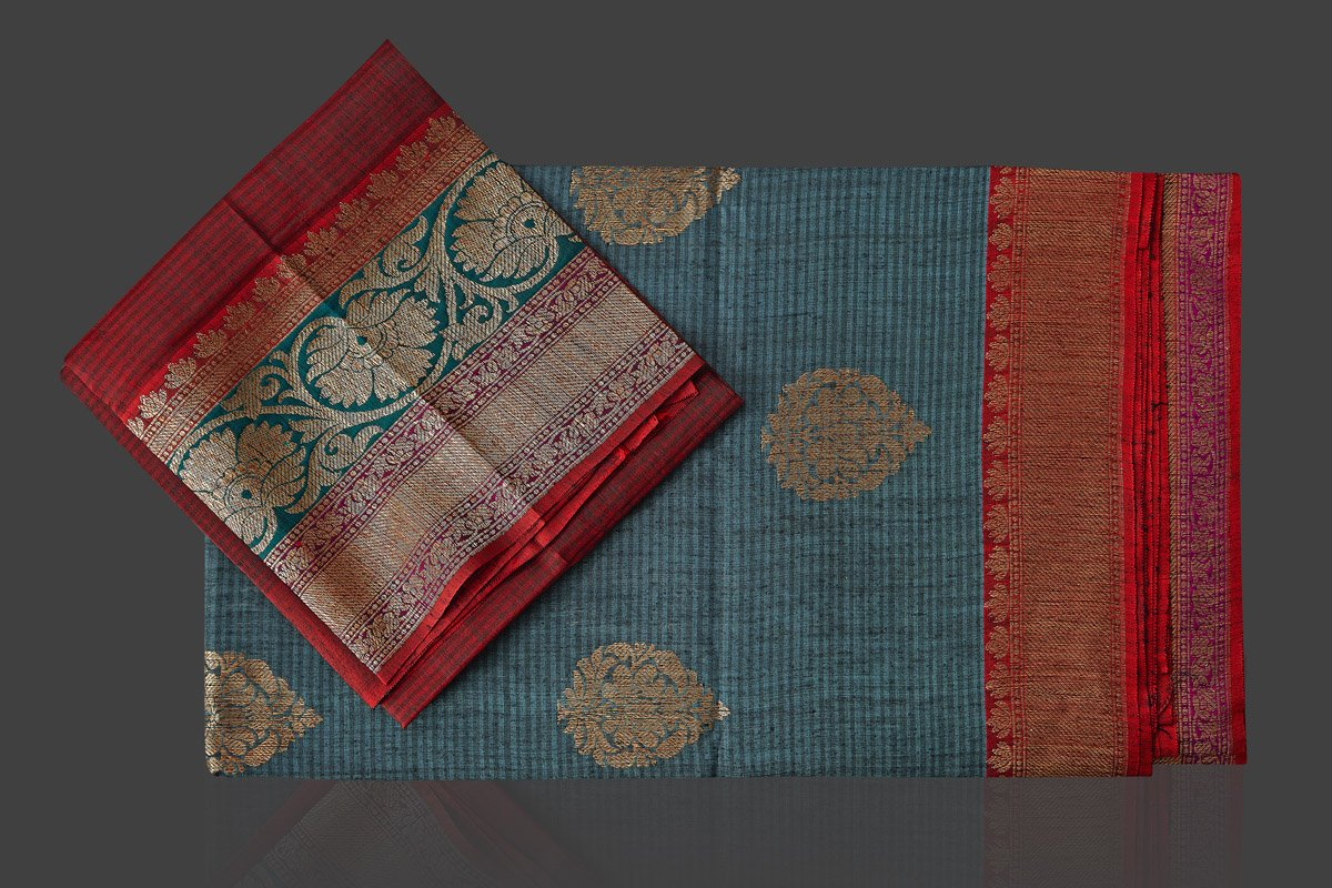 Buy beautiful steel blue striped tassar Banarasi sari online in USA with antique zari border. Garner compliments on weddings and special occasions with exquisite Banarasi sarees, handwoven silk sarees, tussar sarees from Pure Elegance Indian fashion store in USA.-blouse