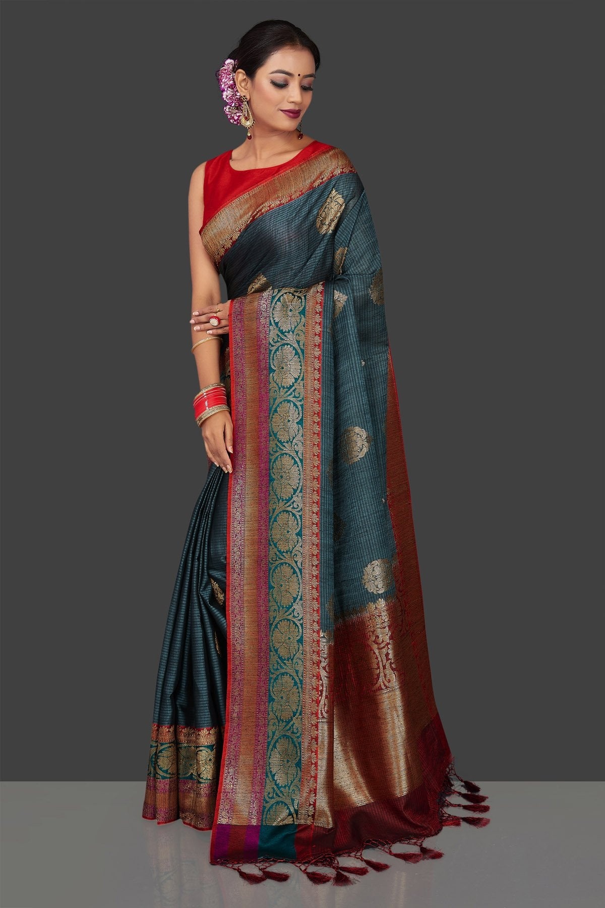 Buy beautiful steel blue striped tassar Banarasi sari online in USA with antique zari border. Garner compliments on weddings and special occasions with exquisite Banarasi sarees, handwoven silk sarees, tussar sarees from Pure Elegance Indian fashion store in USA.-front