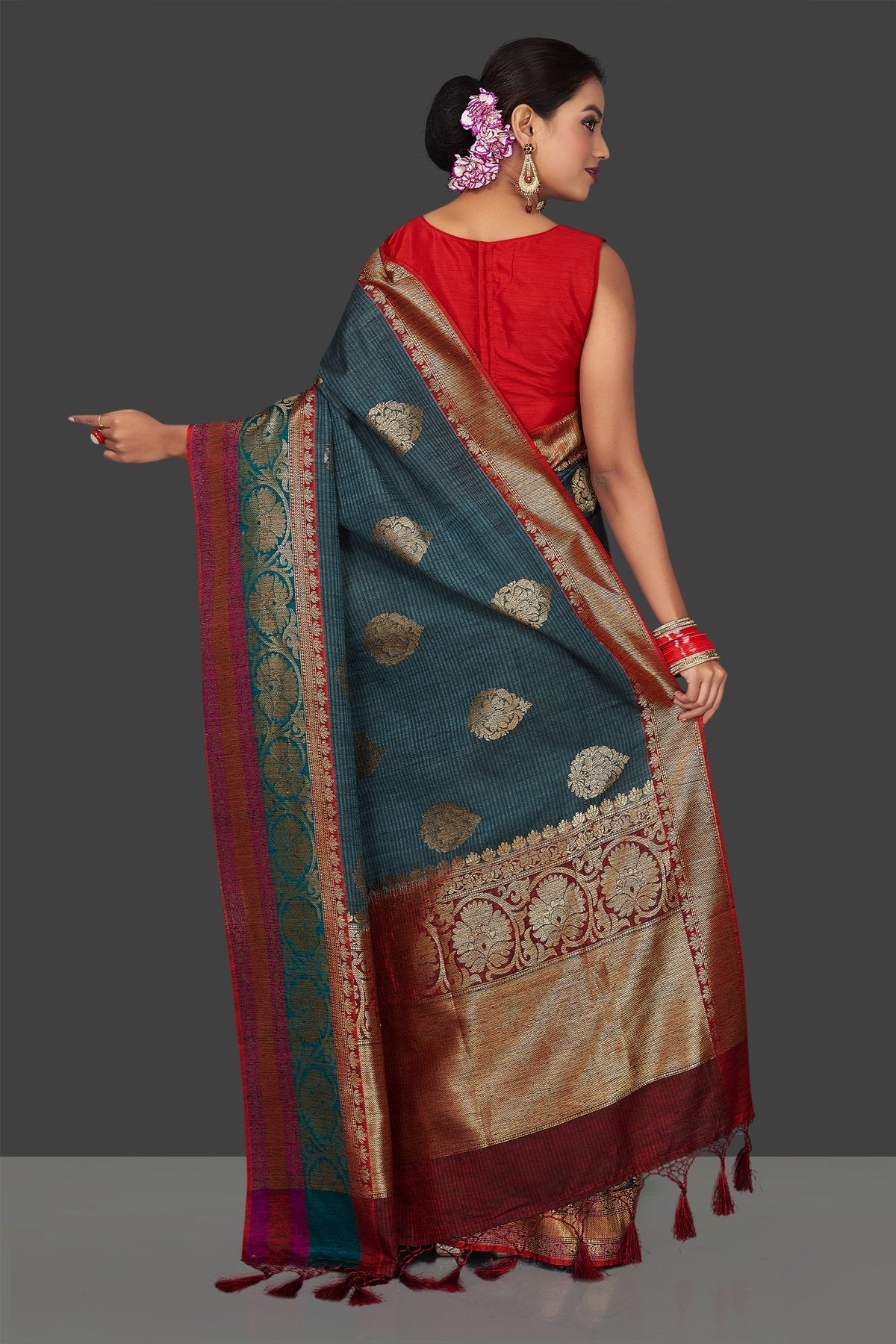 Buy beautiful steel blue striped tassar Banarasi sari online in USA with antique zari border. Garner compliments on weddings and special occasions with exquisite Banarasi sarees, handwoven silk sarees, tussar sarees from Pure Elegance Indian fashion store in USA.-back