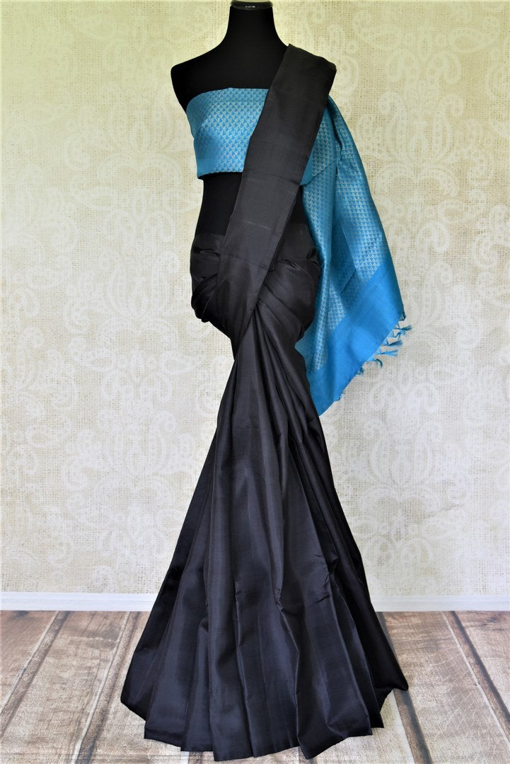 Shop gorgeous black borderless Kanjivaram saree online in USA with blue zari pallu. Shop beautiful Kanchipuram silk sarees, pure zari silk sarees in USA from Pure Elegance Indian fashion store in USA. Shop online now.-full view