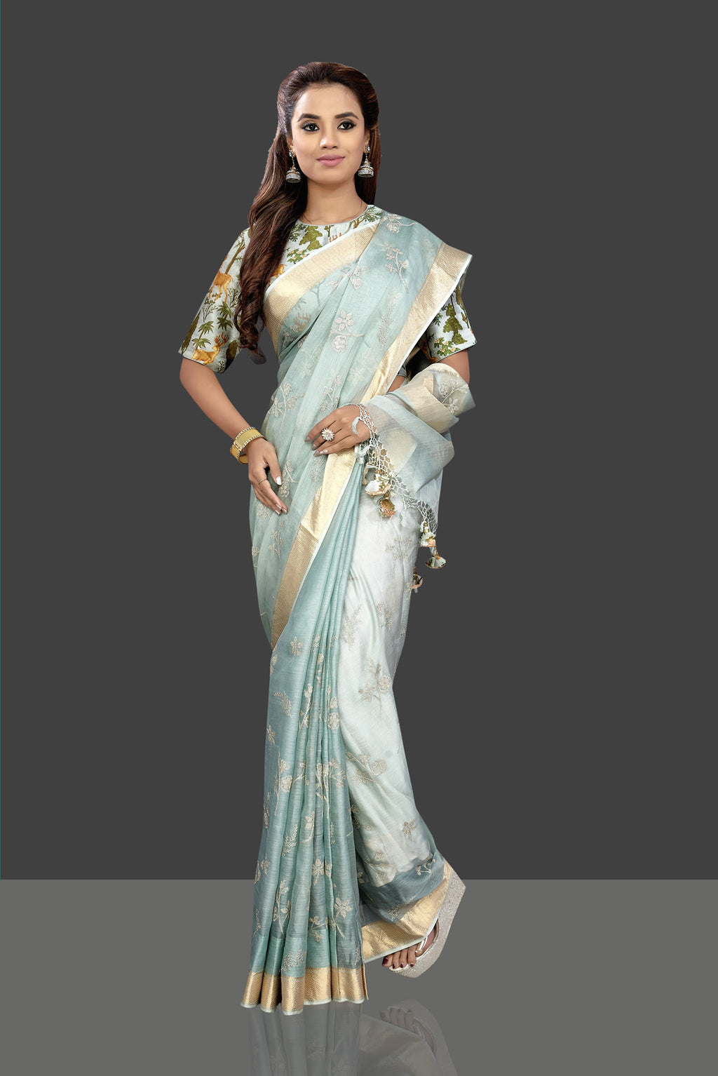Buy stunning powder blue embroidered chanderi saree online in USA with printed saree blouse. Shop stunning chanderi sarees, handwoven sarees, embroidered sarees, printed sarees, pure silk sarees in latest designs from Pure Elegance Indian fashion boutique in USA.-full view