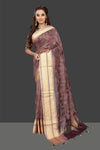 Buy gorgeous purple embroidered chanderi saree online in USA with printed sari blouse. Shop stunning chanderi sarees, handwoven sarees, embroidered sarees, printed sarees, pure silk sarees in latest designs from Pure Elegance Indian fashion boutique in USA.-full view