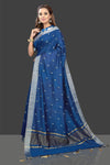 Shop stunning dark blue embroidered chanderi saree online in USA with printed sari blouse. Shop stunning chanderi sarees, handwoven saris, embroidered sarees, printed sarees, pure silk sarees in latest designs from Pure Elegance Indian fashion boutique in USA.-full view