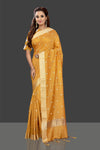 Shop attractive mustard color embroidered chanderi sari online in USA with printed sari blouse. Shop stunning chanderi sarees, handwoven saris, embroidered sarees, printed sarees, pure silk sarees in latest designs from Pure Elegance Indian fashion boutique in USA.-full view