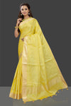 Shop charming bright yellow embroidered chanderi saree online in USA with printed sari blouse. Shop stunning chanderi sarees, handwoven saris, embroidered sarees, printed sarees, pure silk sarees in latest designs from Pure Elegance Indian fashion boutique in USA.-full view