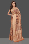 Buy stunning beige floral tussar silk sari online in USA with machine embroidered border. Make you presence felt with your Indian style on special occasions in beautiful designer sarees, handwoven sarees, tussar sarees, pure silk sarees from Pure Elegance Indian fashion store in USA.-full view
